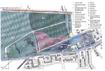 בד זד - תכנית האתר איזורי תעסוקה, תרבות, חנויות ובית קפה עם רחובות נפרדים להולכי רגל ולמכוניות (BioRegional, 2002)