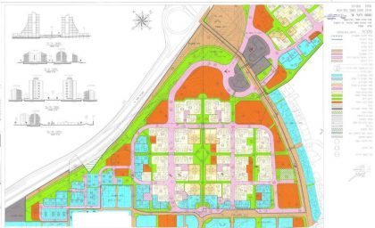 כפר סבא - תכנון השכונה עם רחובות הולכי רגל בין גושי הבניינים וכבישים מסביב להם (אתר עיירית כפר-סבא)
