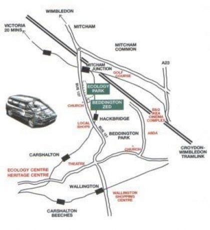 בד זד - רשת אמצעי התחבורה הציבורית הסמוכים לשכונה (BioRegional, 2002)