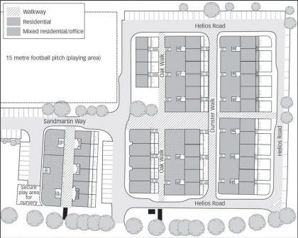 בד זד - תכנית השכונה עם רחובות נפרדים להולכי רגל ולמכוניות (Chance, 2009)